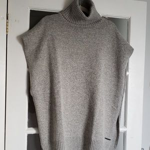 NWOT Gray Heavy Turtleneck Poncho Style Sweater
